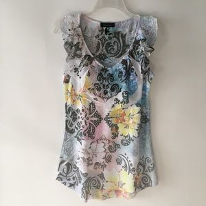 Fleurish Floral Tattoo Flutter Collar Tank Top